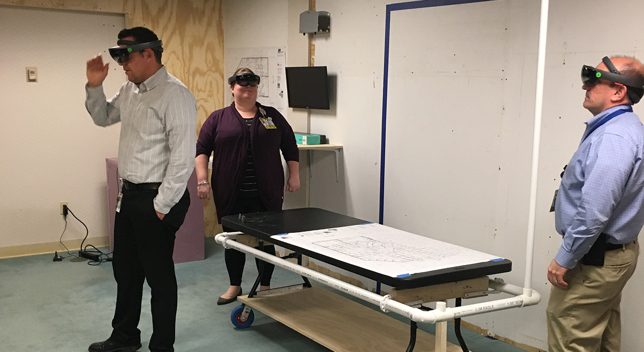 Elliot Hospital Emergency Department Preconstruction Trauma Room Mockup with HoloLens