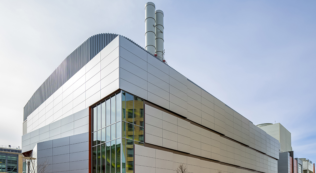 Exterior of MIT Central Utility Plant in Cambridge, MA. Photo by Mike Worthington.
