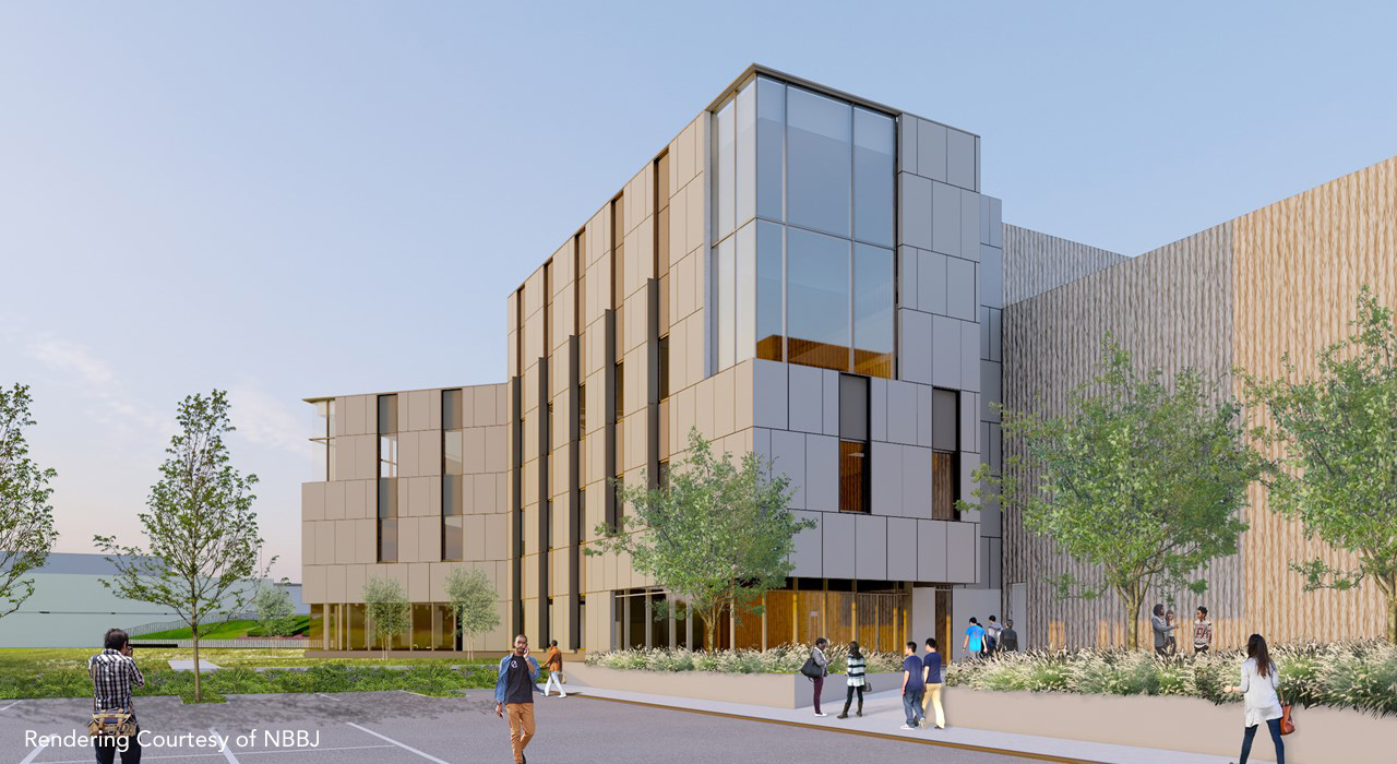 Rendering of addition to the Bunker Hill Community College by NBBJ showing a new addition with windows and planters out front.. Rendering courtesy of the architectural firm NBBJ.