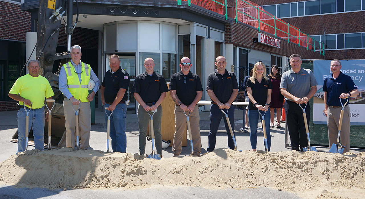BOND Building team assembled outside of the existing Elliot Emergency Department for the Groundbreaking in June 2021