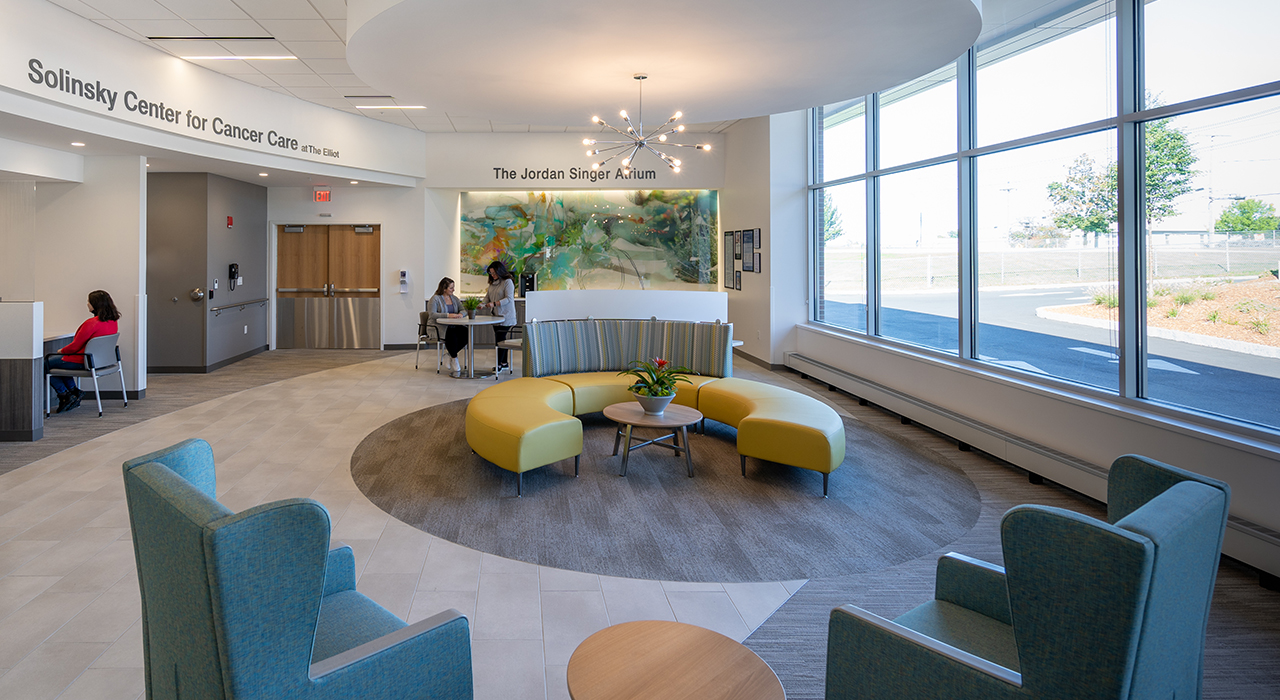 Elliot Hospital, Solinsky Center for Cancer Care at The Elliot | Manchester, NH; Photographer David Pires; interior photograph of the lobby and waiting area