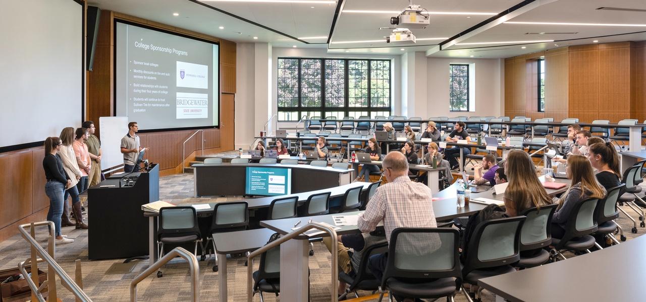 classroom in Leo J. Meehan School of Business, Stonehill College
