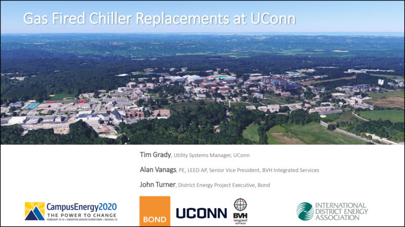 Header Slide from IDEA 2020 Conference with photo of UCONN Central Utility Plant Project Site