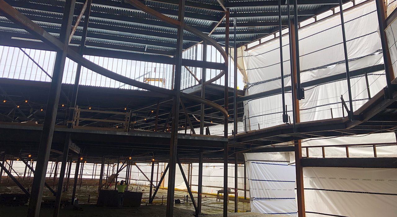 Town of Weymouth MA Maria Weston Chapman Middle School Topping Off - interior of the school's steel structure under construction