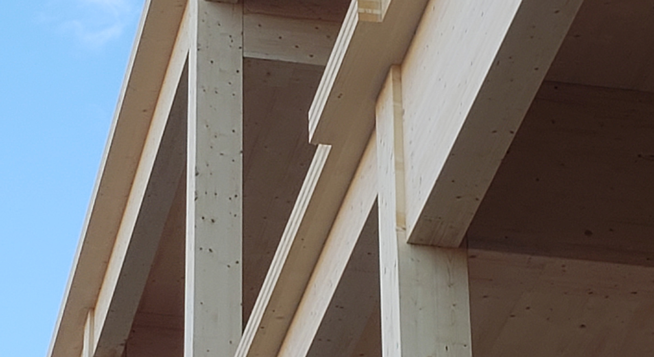 Photo of Cross laminated timber (CLT) on a few floors.