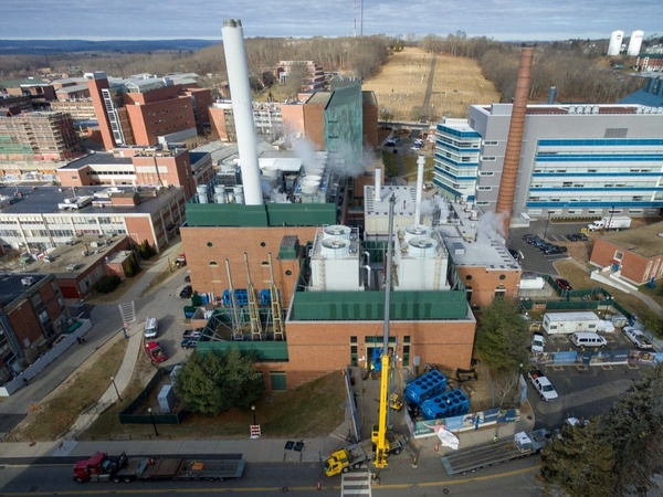 UCONN Central Utility Plant drone aerial